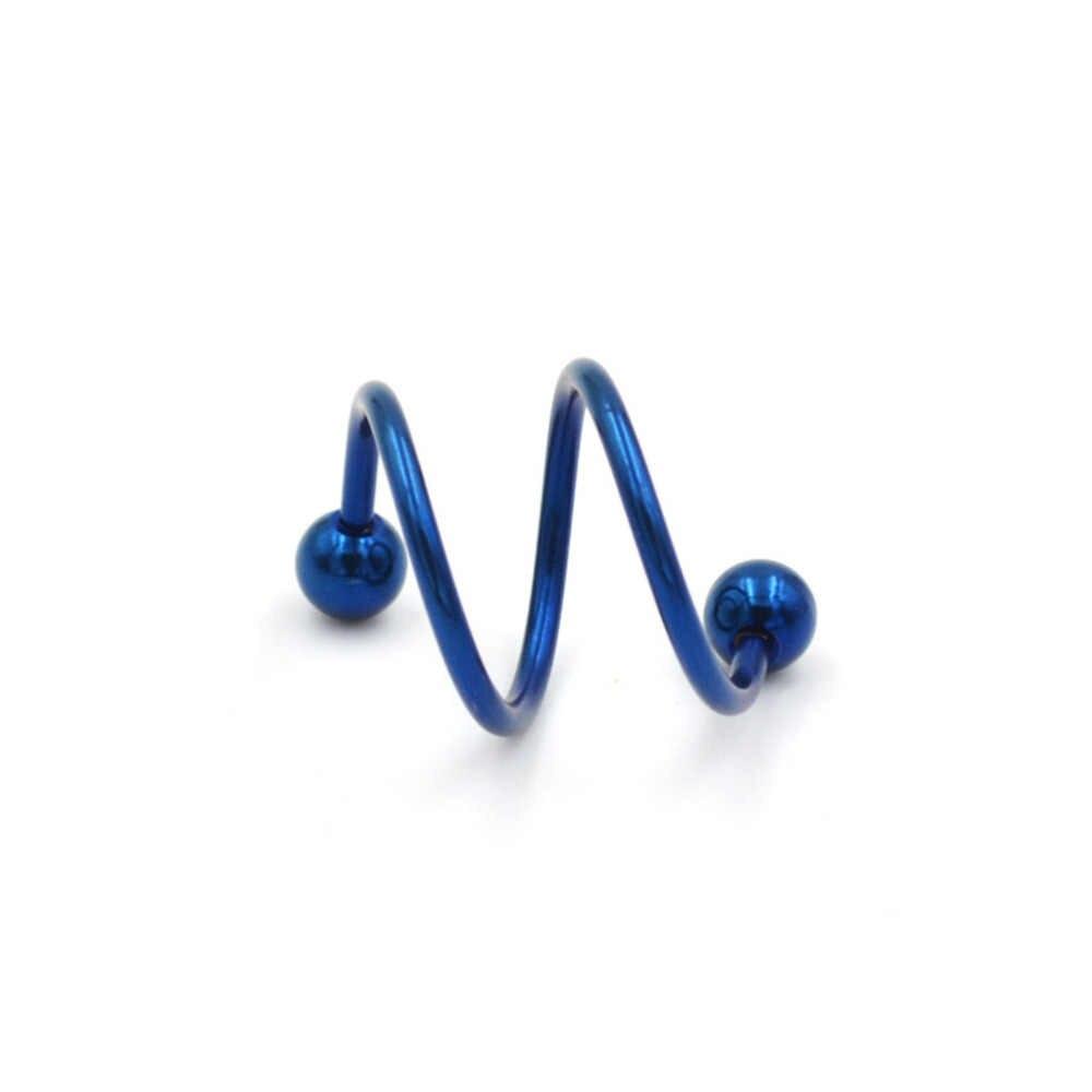 1 Pcs גוף פירסינג תכשיטי האף פירסינג ייחודי עיצוב נירוסטה טוויסט האף שפתיים טבעת Stud 5 צבעים