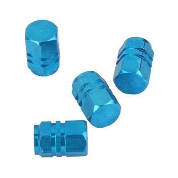 4PCS Car Tire Valve Stem Caps Universal Aluminum Car Wheel Tyre Valve Dust Caps Stems Covers Dustproof- Blue image