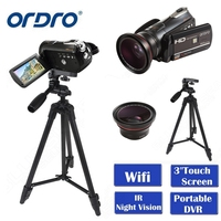 Hottest ORDRO HDV D395 Full HD 1080P 18X 3.0Touch Digital Camera Portable Video Camcorder IR Night Vision Four Bundles Optional