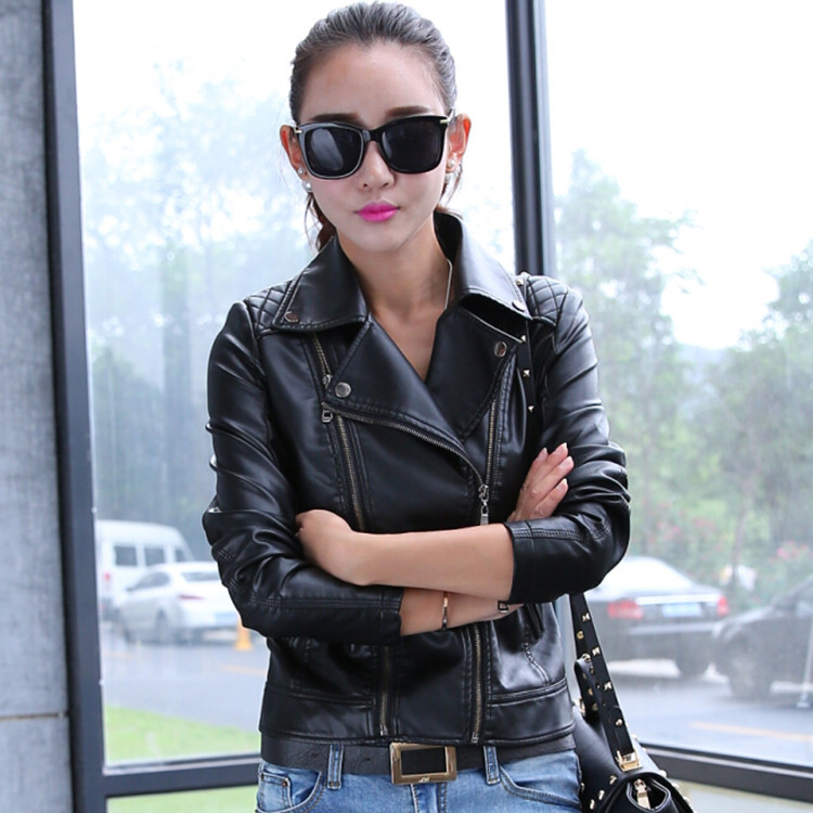 European Style Fashion Girls Women Full Sleeve Short Type Motor Leather Jackets Coats in Leather Jackets from Women 39 s Clothing