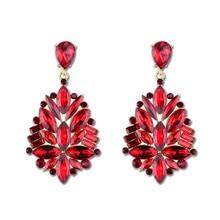 2018 Bohemian Long Big Rhinestone Crystal Flower Drop Earrings Women Fashion Statement Wedding Bridal Jewelry Pendientes