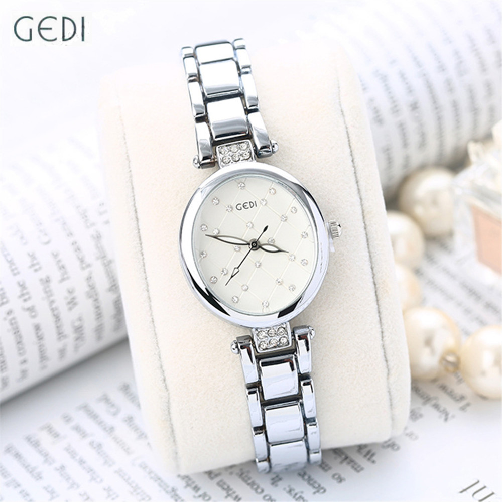 Fashion Silver Stainless Steel Women Bracelet Watch 2017 New Design Ladies Oval Dial Japan Movement Clock
