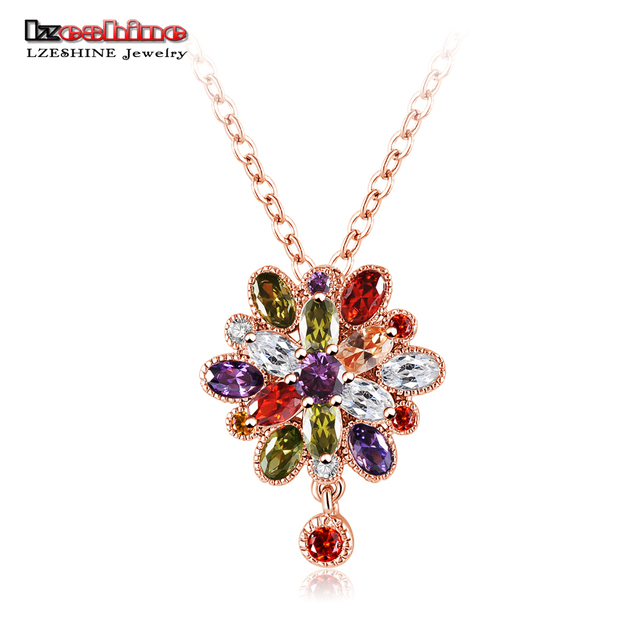 LZESHINE New Women Luxury Pendant Rose GoldSilver Color Colorful
