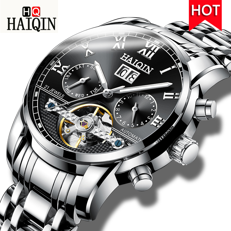 HAIQIN Mens Watches 2019 New High-end Fashion Casual Brand Sports Waterproof Mechanical Watch All Steel Clock Relogio MasculinoHAIQIN Mens Watches 2019 New High-end Fashion Casual Brand Sports Waterproof Mechanical Watch All Steel Clock Relogio Masculino