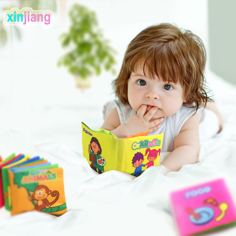 6 Styles Soft Cloth Baby Books Newborn Infant Toys Educational Crib Book Baby Cognition Quiet Book Toys For Kids }