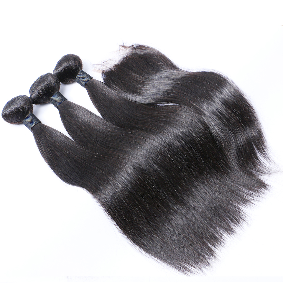 Peruvian Hair 3 Bundles With Closure Straight Human Hair 4 Bundles Closure Brenda Remy Hair Weaves