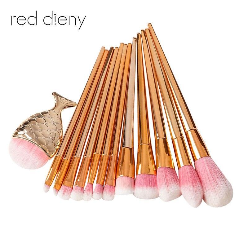 8 &13 PCS Rose Gold Make Up Brush Set High Quality Foundation Blusher Powder Brush Tools Flat Eyeliner Eyebrow Makeup Brush