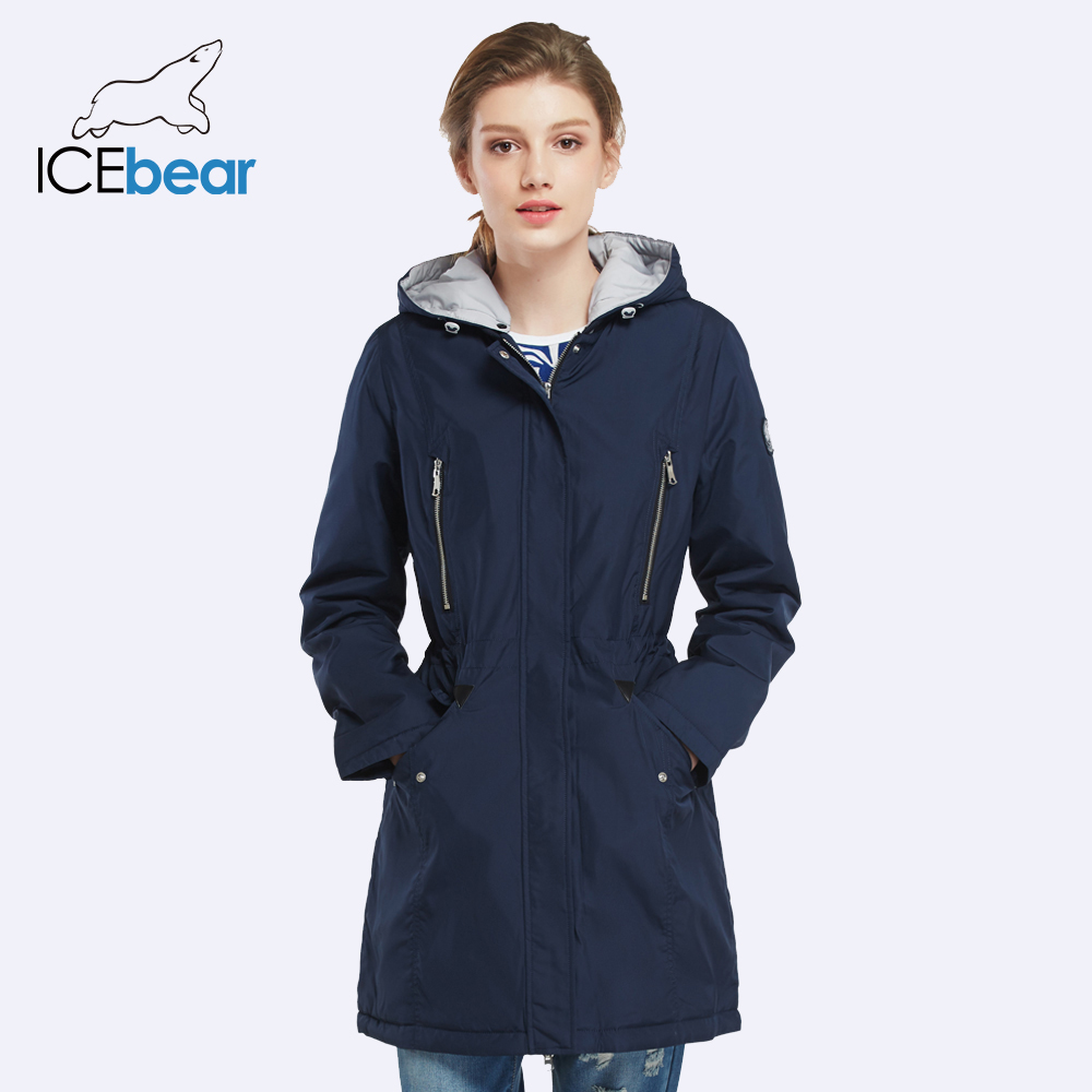 ICEbear 2018 New Brand Clothing Women Spring Parka Womens Long Thin Jacket With Warm Winter Coat 16G262D
