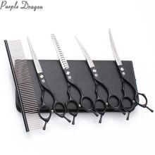 Thinning Shears Scissors Dog-Grooming-Kit Curve Professional Black 440C Z3009 7-Straight
