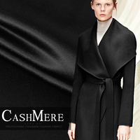 Limited hot sale fashion luxury Senior pure black double sided cashmere wool fabric for coat tissus au meter DIY tissu telas