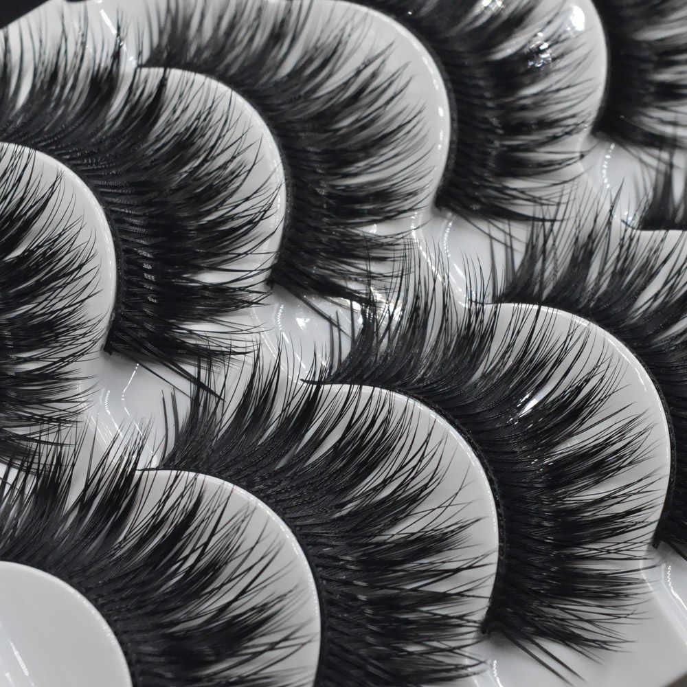 5 Pairs El Yapımı Yanlış Göz Lashes Kalın Sahte kirpik makyajı Ipuçları Kozmetik Doğal Uzun takma kirpik Uzatma Cilios Posticos