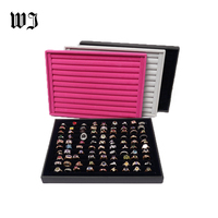 Professional Wood Jewelry Display Stands Vitrine Ring Showed Tray Holder For Rings Showcase Velvet Bague Bijoux