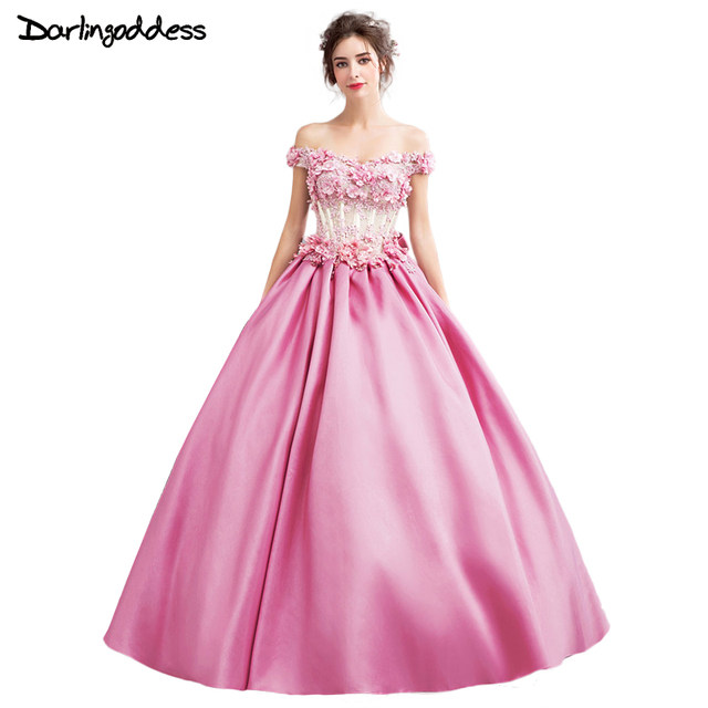 Online Shop 2017 Newest Luxury Ball Gown Wedding Dresses Pink Satin ...