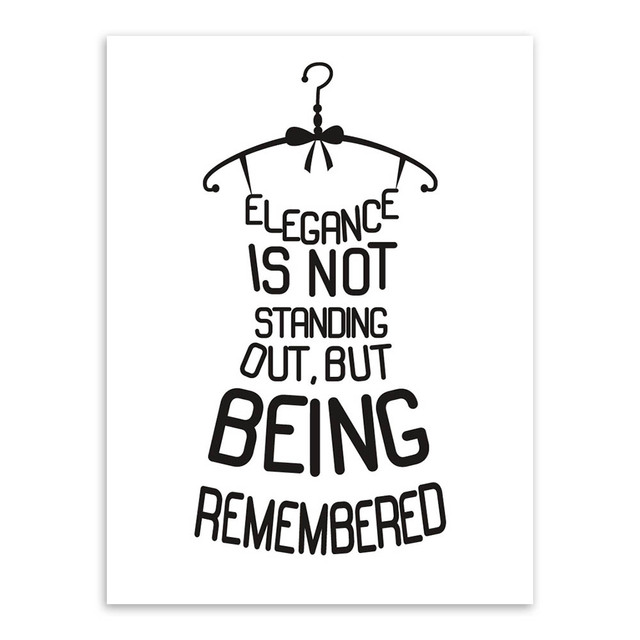 Black White Quotes Letter Creative Dress Unframed Picture Wall Art