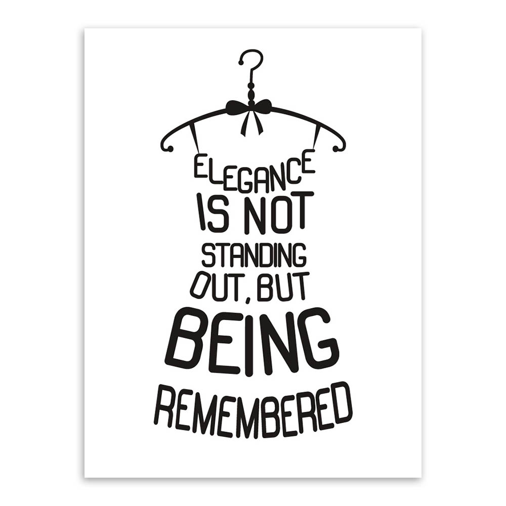 Black White Quotes Letter Creative Dress unframed picture