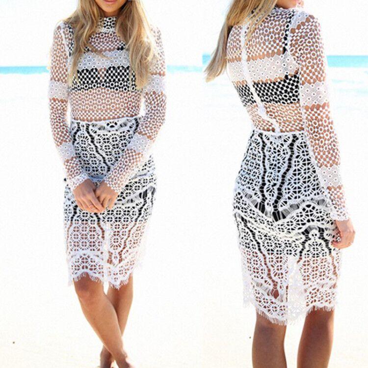 ⊹2016 mujeres de verano amarillo Hollow out crochet Encaje vestido ...