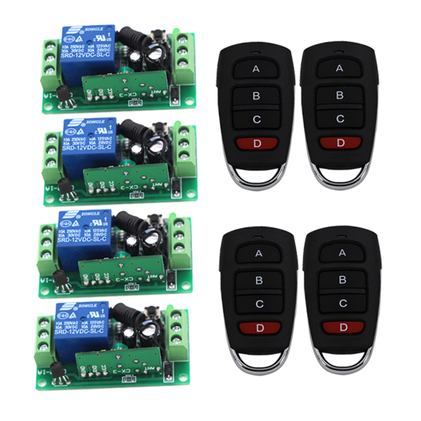DC 12V 4CH Channel Wireless RF Transmitter 1CH Receiver Remote Control Switch Transmitter Receiver SKU: 5138