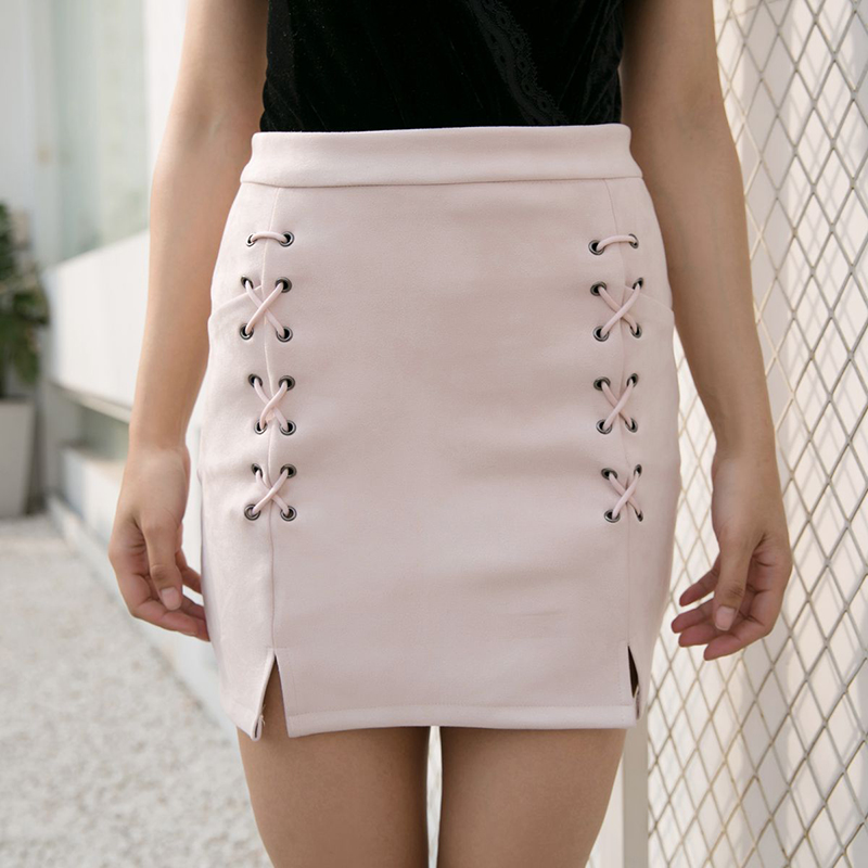 Nadafair Autumn Winter High Waist Suede Leather Skirt Women Solid Lace up Vintage Preppy Casual Mini Skirts Black Nude