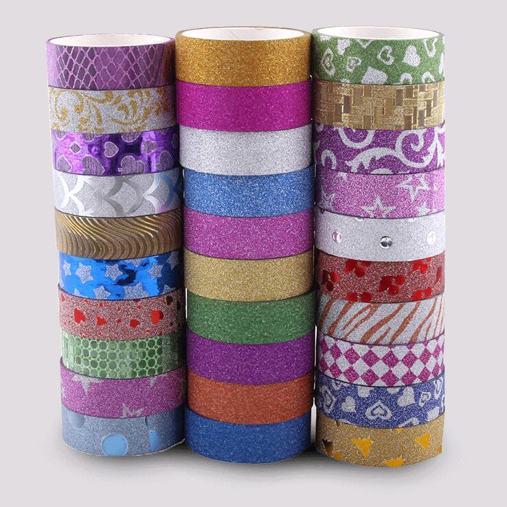 10 Rolls / Lot Colorful Printed Glitter Tape , Pure Color Glitter Washi Tape