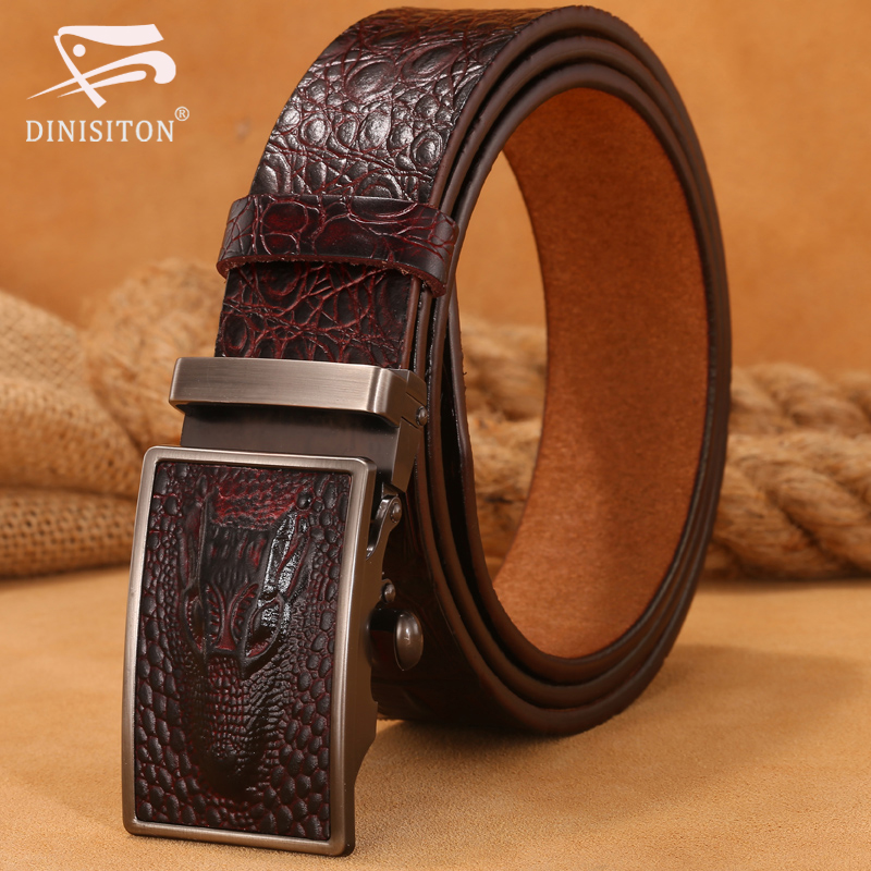 DINISITON Hot Sale Men   belts   Luxury Genuine Leather Crocodile designer High Quality Automatic   Belt   Man Buckle Real Cowhide Jeans