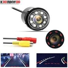 Koorinwoo CCD macchina fotografica di Rearview Dell'automobile Dinamico traiettoria Colorful 18.5mm Videocamera per auto Backup Assistenza di Parcheggio Video RCA/Ingresso AV 12 v