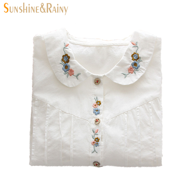 Fashion Japanese style women  blouse shirts cotton floral embroidery peter pan collar sweet shirt for ladies office white tops