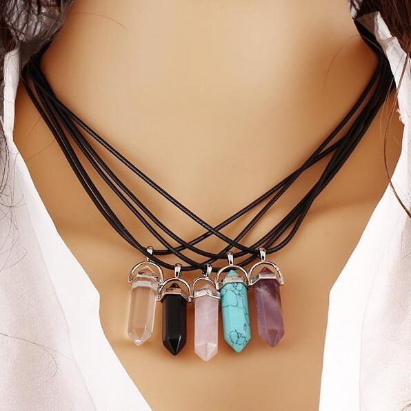 Новые модные из искусственной кожи мужские цепочки Для женщин s создан драгоценный камень Натуральный камень шестиугольная Призма ворс кулон Цепочки и ожерелья Для женщин