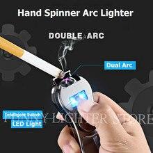2018 Hot Fidget Spinner USB Electronic Lighter Metal Cigaratte Plasma Arc Lighter Hand Spinner Windproof Flamess Cigar Lighter