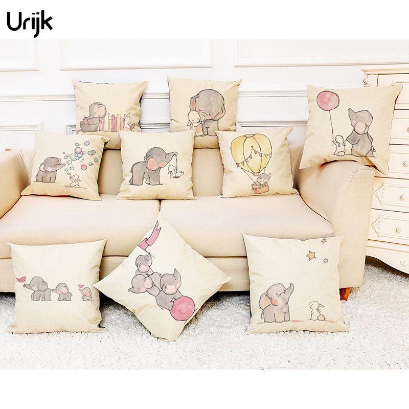 Urijk 1pc Cute Small Elephant Decorative Pillows For Sofa
