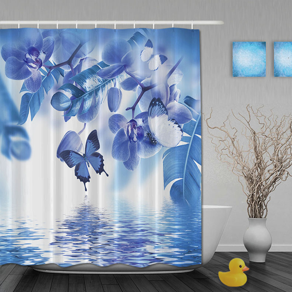 Custom Watercolor Blue Floral Butterfly And Beautiful Lake Shower Curtains Waterproof Fabric