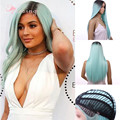 24'' Kylie Jenner Wig Ombre Mint green Natural Cheap Hair Silky Straight Synthetic Front Lace Wig Synthetic Long lace front wigs
