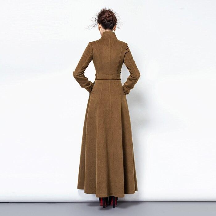 2019 Moda Qatı Rəngli Yun Palto Uzun yun Pencək Qadın Vintage - Qadın geyimi - Fotoqrafiya 4