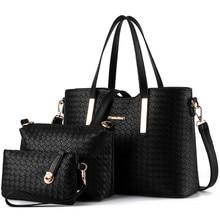 3 PCS/Set Pure Color Composite Bag European and American Style PU Handbag Shoulder Bag Women Woven Pattern Messenger Bags