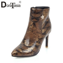DORATASIA New Mature mixed-color Ankle Boots Women 2019 Add Fur Autumn Winter Plus Size 31-47 High Heels Shoes Woman