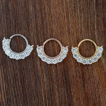 316L Surgical Steel Fake Septum Clicker Nose Ring Circle CZ Crystal Ear Cartilage Nose Hoop Studs Piercing Jewelry anti-allergy(China)