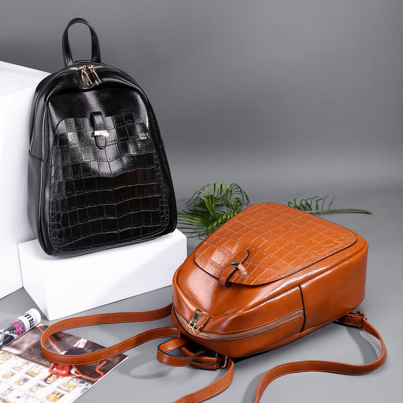CGMANA Women Backpack 2018 High Quality Leather Backpacks For Girls Teenagers School Bag Shoulder Bag Crocodile Large Travel Bag in Backpacks from Luggage Bags