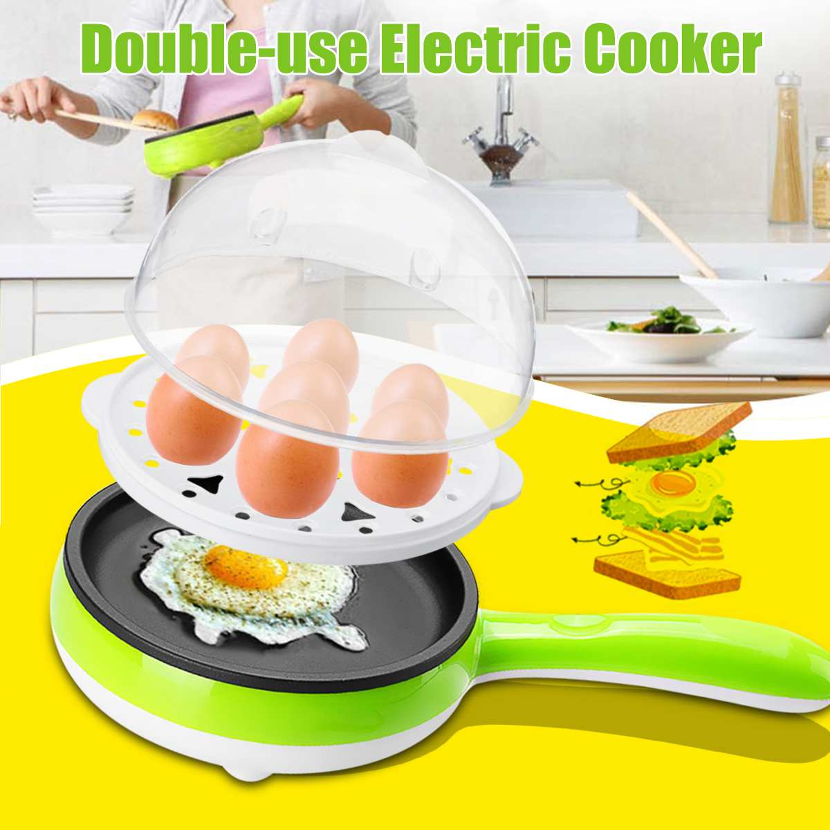 220V 350W Multifunction Household Stainless Steel Non-Stick Electric Pot Pan Mini Egg Boiler Cooker Stew Cooking Frying Pan