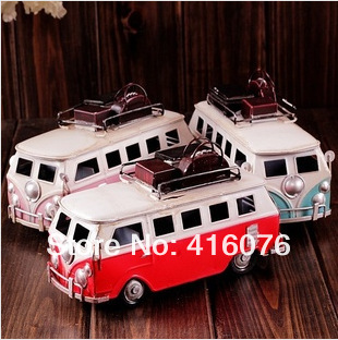 Vintage Style Handmade Classic Bus Metal Car Model Memory of Old Times Metal Art Gift 3 colors Home Decoration M1203