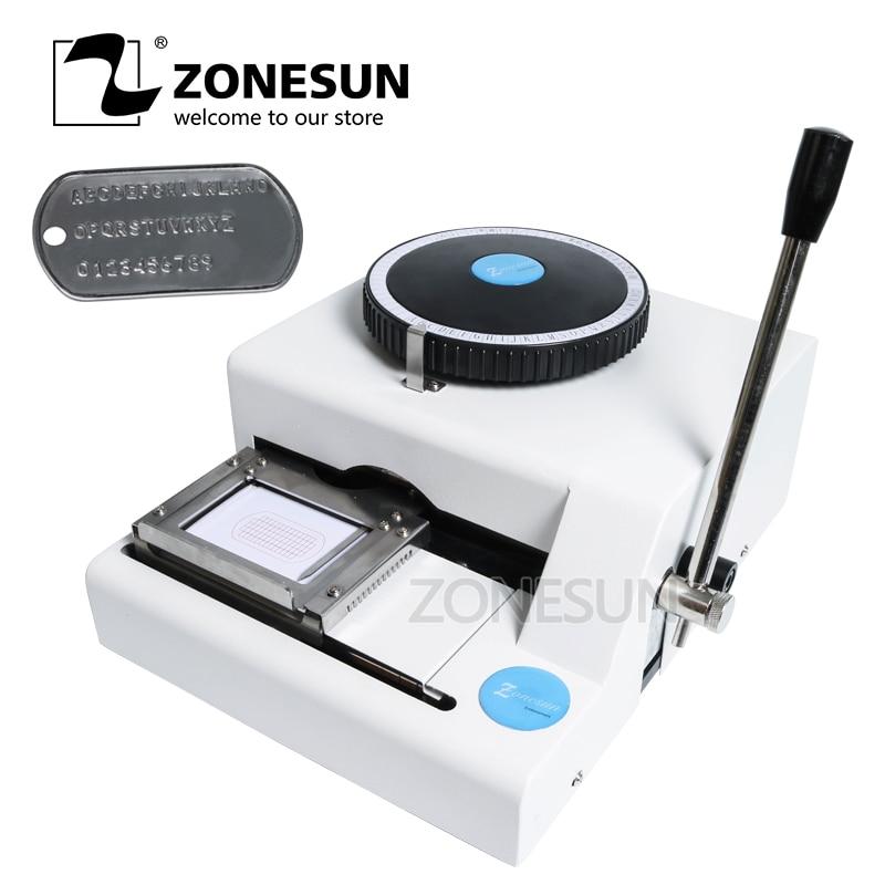 ZONESUN Manual Aluminum 52 Character Dog Tag Desktop Steel Stamp Press Seal Print Engraving Embossing Machine