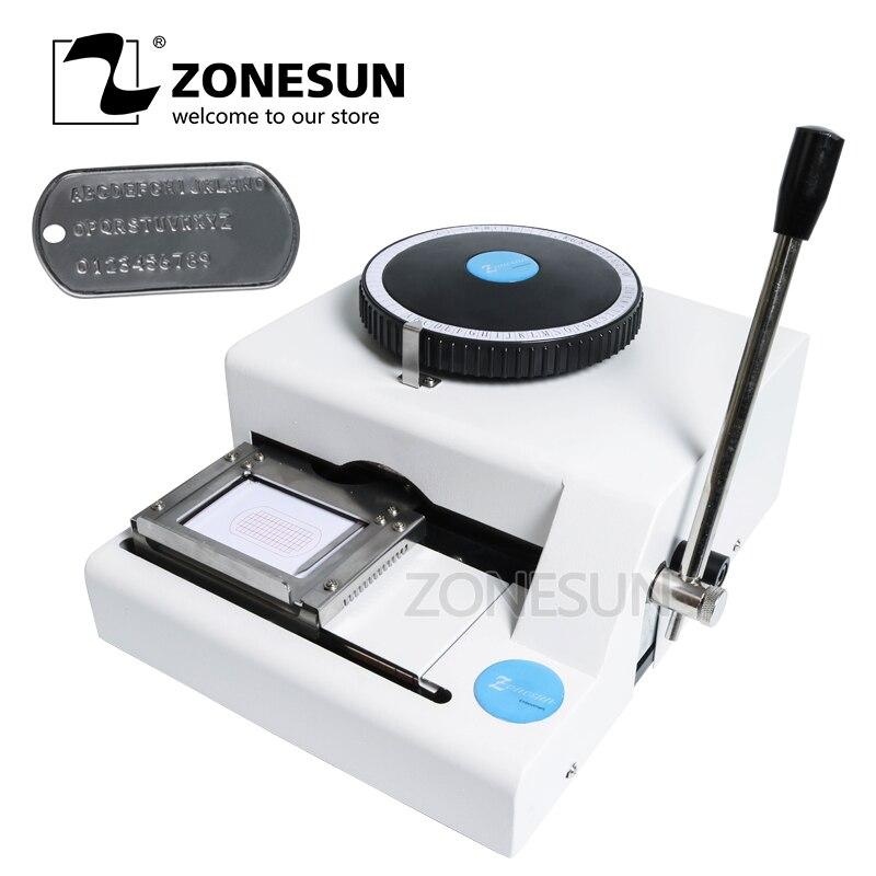 ZONESUN manuel en aluminium 52 caractère chien étiquette bureau en acier timbre presse joint impression gravure gaufrage Machine