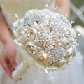 Ivory & champagne satin ribbon rose brooch bouquet  Brooch bouquet  Ribbon rose bouquet Champagne wedding fabrics brooch bouquet