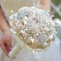 Marfil y champagne satén cinta de rose broche ramo Broche Cinta ramo ramo de rosas Champagne broche ramo de boda telas