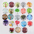 20mm Glass Cabochons Embellishment Cameo Flatback Scrapbooking Dome Seals Tree Life Random Mixed 10pcs