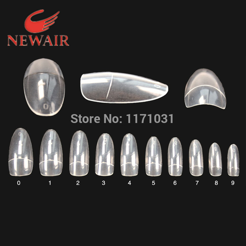 500pcs False Nails Oval French Fake Nail Short Clear Half Cover Nail ...