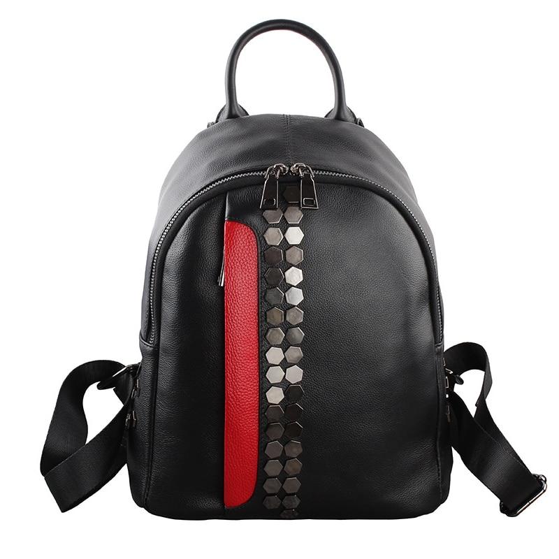 ФОТО Casual WomenTravel Backpack Genuine Leather Zipper Women Bag Fashion School Backpack