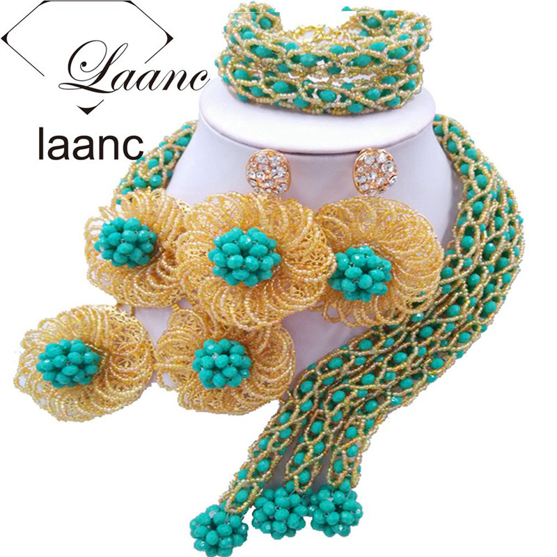 Laanc Auqa Blue and Gold Flower African Beads Jewelry Set for Women Costume Nigerian Wedding Necklace and Earrings FBFE006
