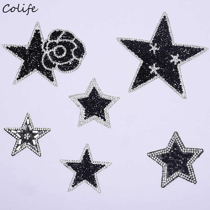 New Stars Patches For Clothes Embroidered DIY Black And Silver Rhinestone  Crystal Rose Decoration Patches Jeans d1faaaaa99ad