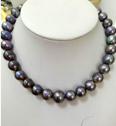 free shipping HUGE 10-11 MM SOUTH SEA GENUINE BLACK grey PEARL NECKLACE