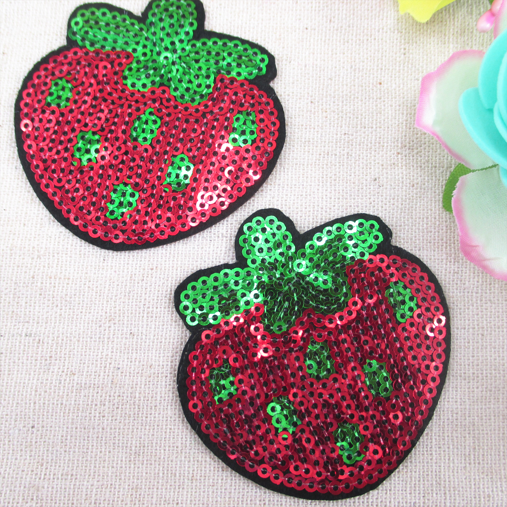 60*60mm Strawberry Sequins Embroidery Patch High Quality 5 ...