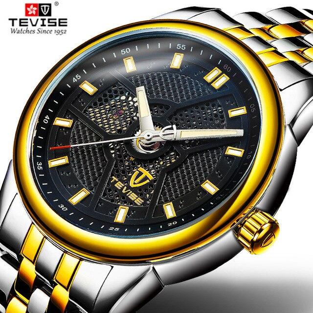 3777a5d5fe8 Tevise Marca de Moda de Luxo Homens Relógio Mecânico Automático de aço  Inoxidável Relógio de Pulso